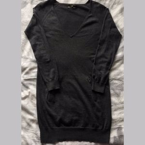 Silk & Cashmere Charcoal Sweater Dress w/ Pockets